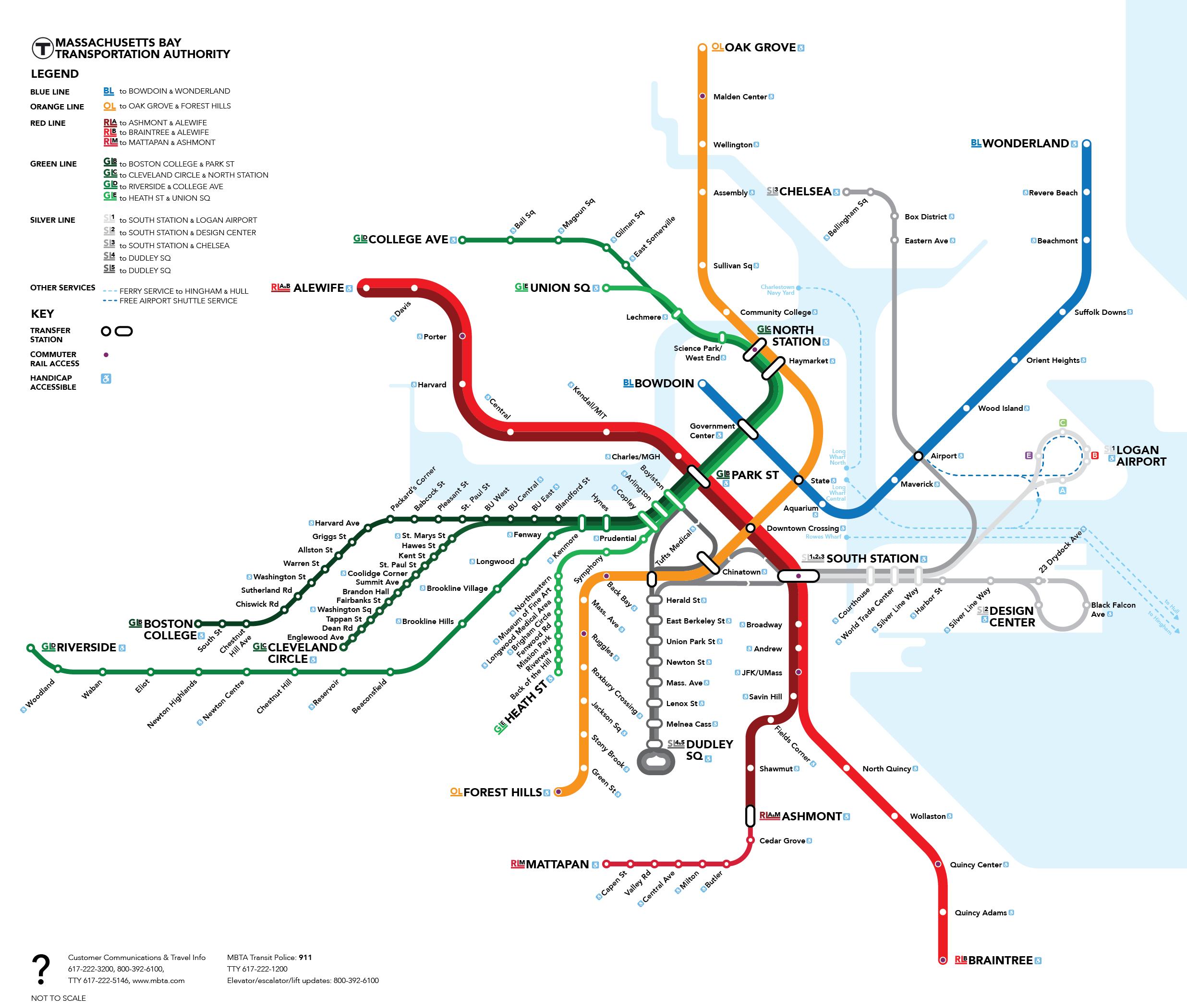 Boston Subway Map To Geography.John Branagan Mbta Map